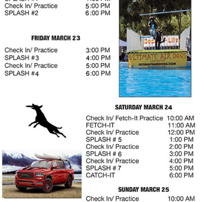 Ultimate Air Dogs Schedule